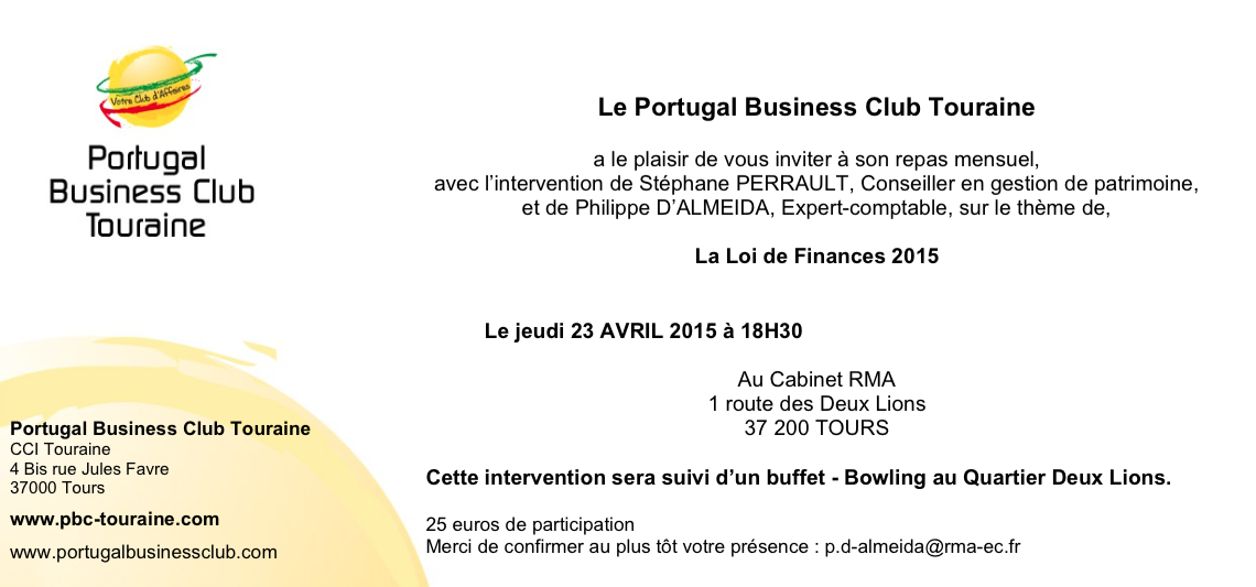 repas mensuel avril 2015 loi de finances 2015 portugal business club touraine. Black Bedroom Furniture Sets. Home Design Ideas
